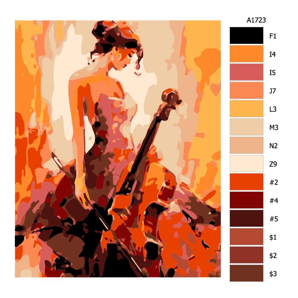 Návod pro malování podle čísel Dívka s violončelem
