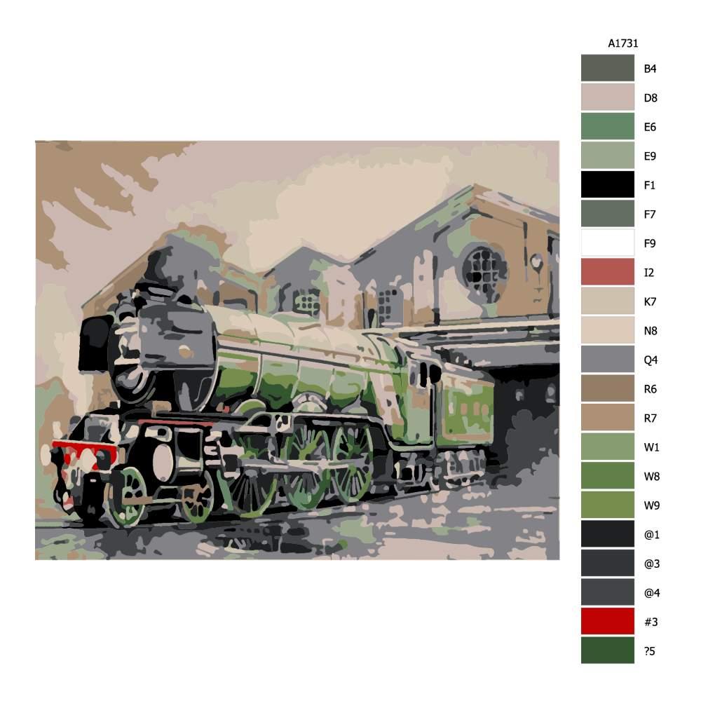 Návod pro malování podle čísel Zelená mašinka