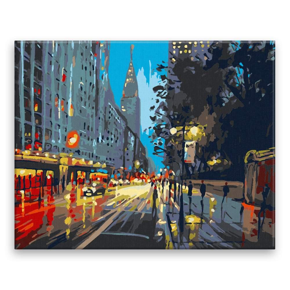 Malování podle čísel V New Yorku za deště