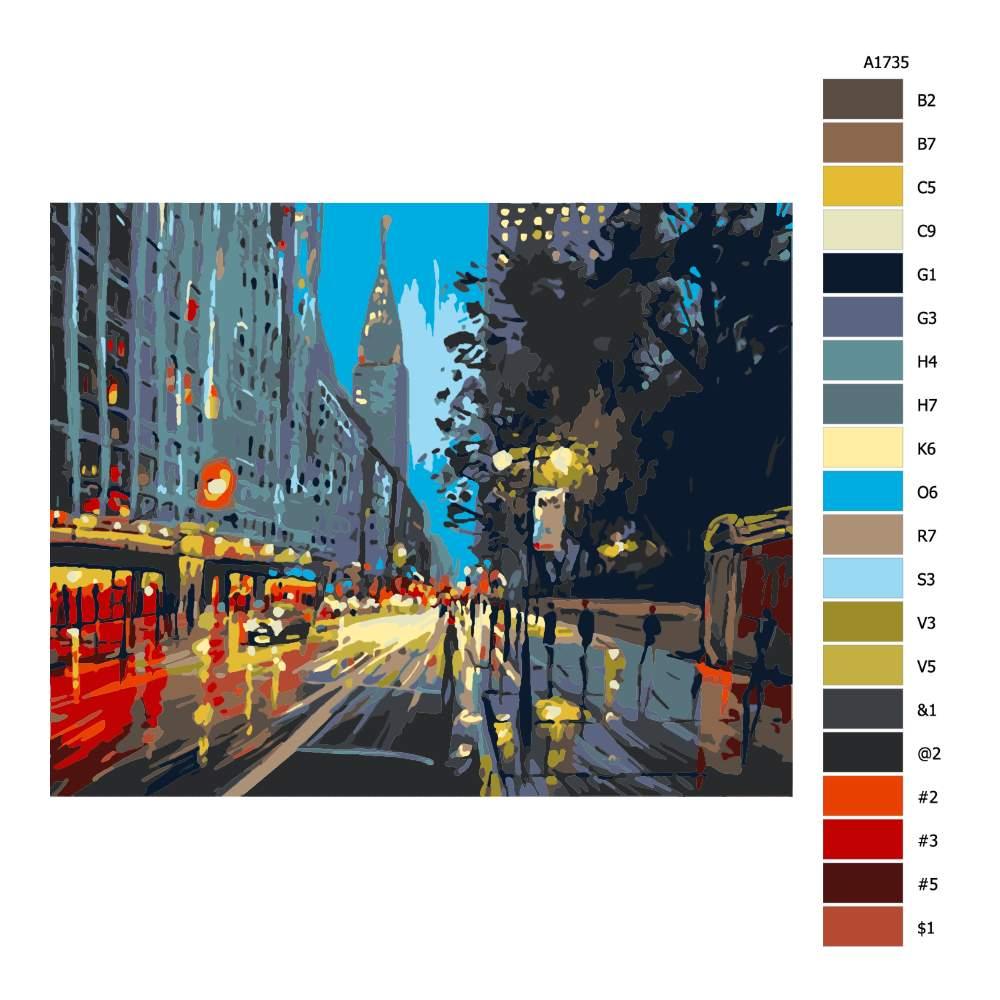 Návod pro malování podle čísel V New Yorku za deště