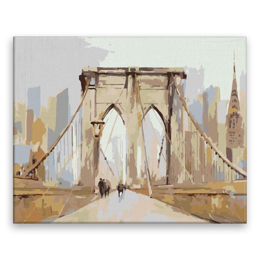 Malování podle čísel V New Yorku na mostě