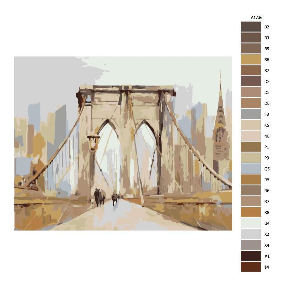 Návod pro malování podle čísel V New Yorku na mostě