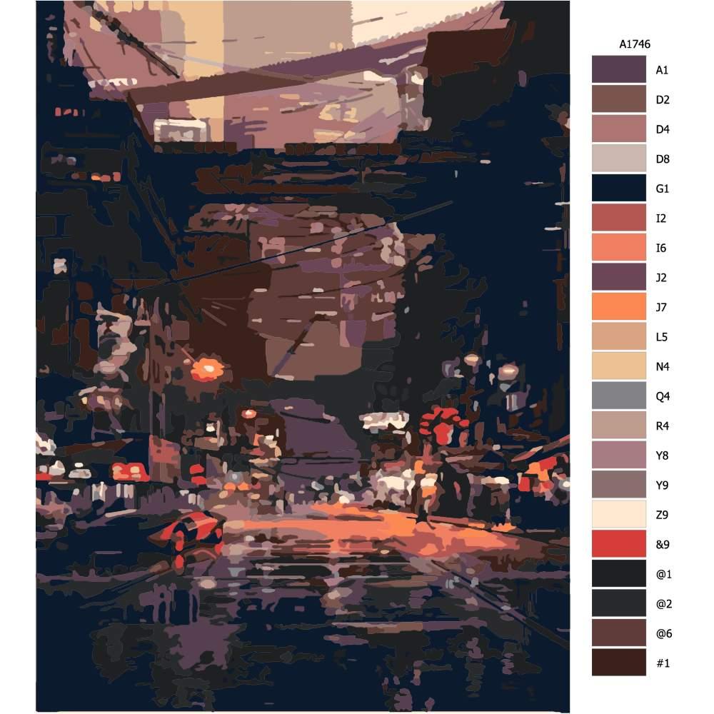 Návod pro malování podle čísel Noční město budoucnost