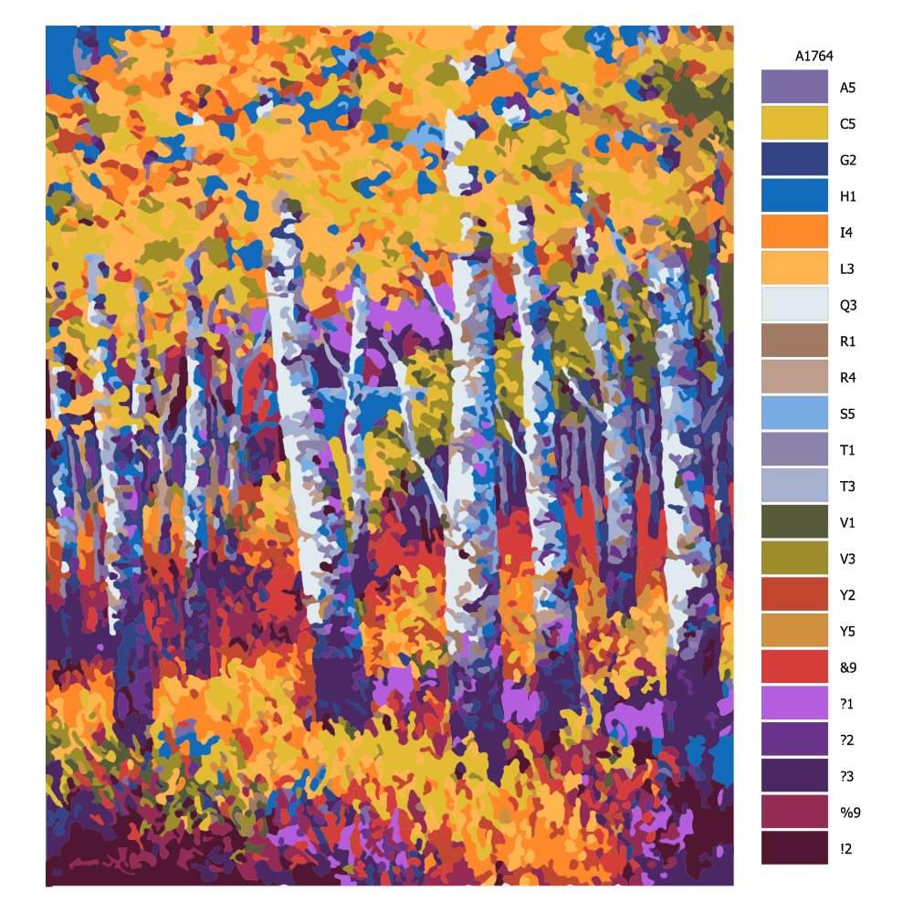 Návod pro malování podle čísel Břízy na podzim