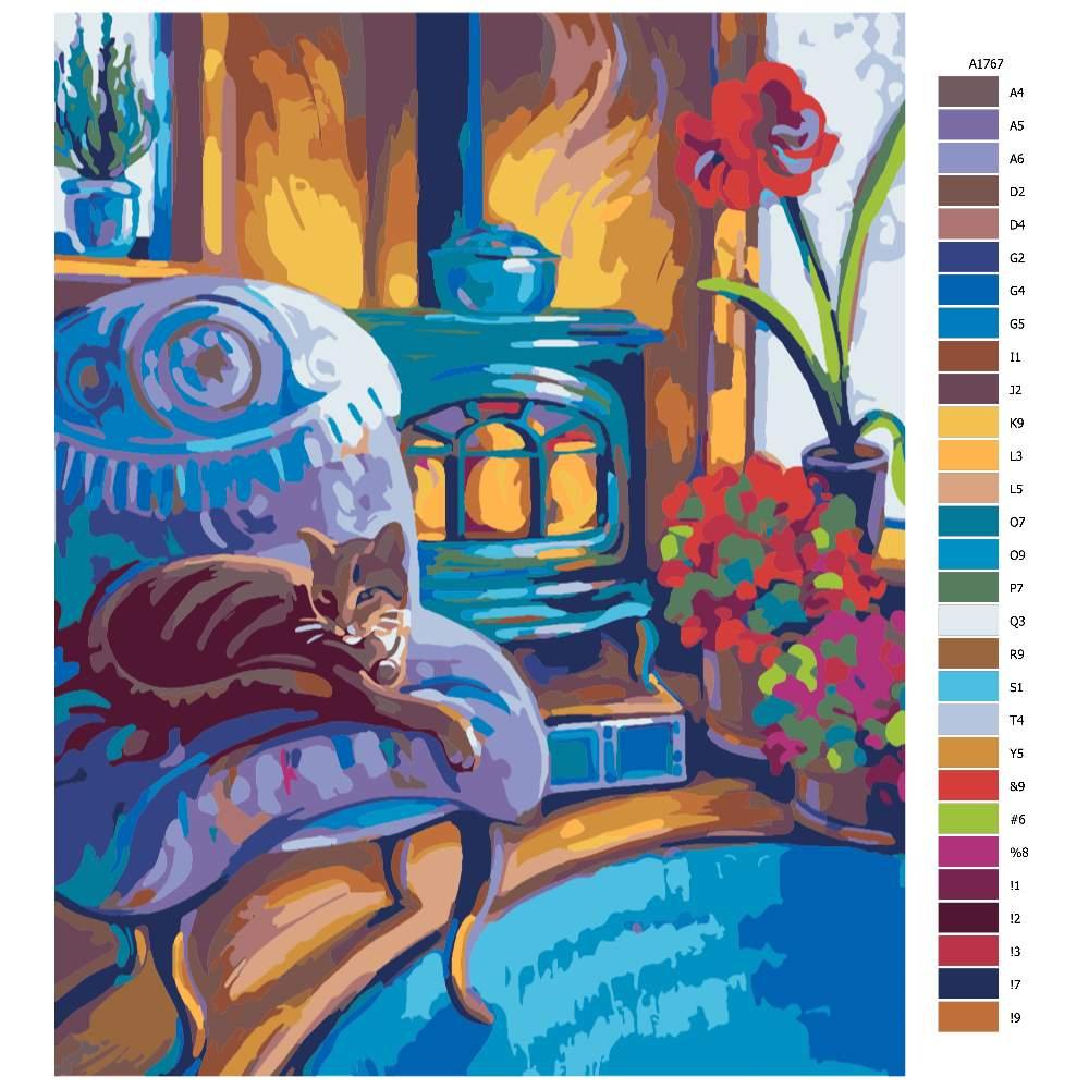 Návod pro malování podle čísel Kočičí pohodička