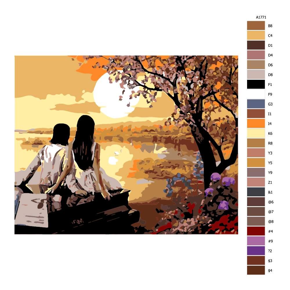 Návod pro malování podle čísel Perfektní západ slunce