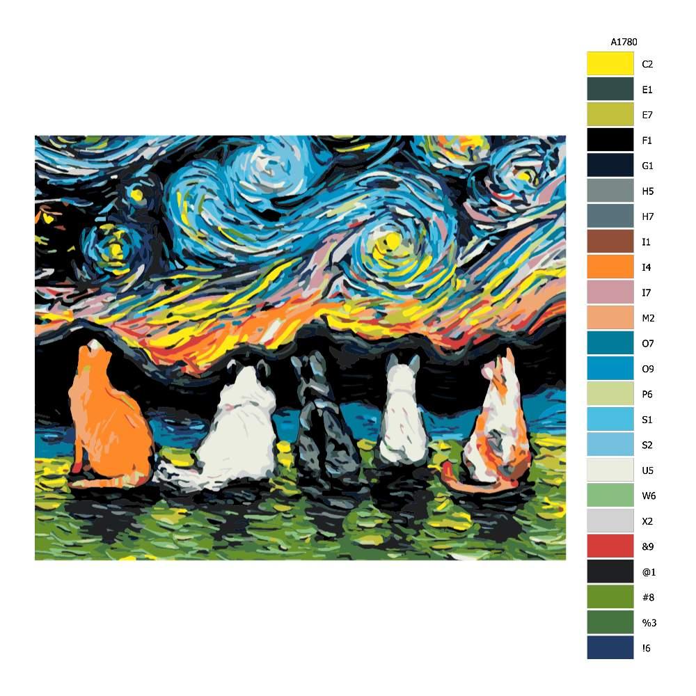 Návod pro malování podle čísel Kočičí sněm