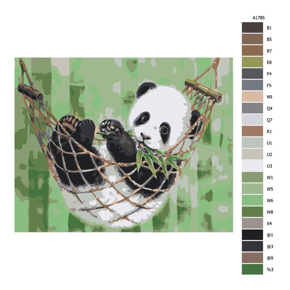 Návod pro malování podle čísel Panda v houpací síti