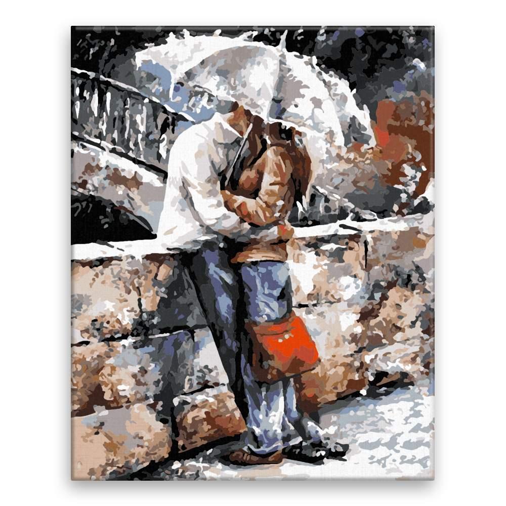 Malování podle čísel Na mostě pod deštníkem