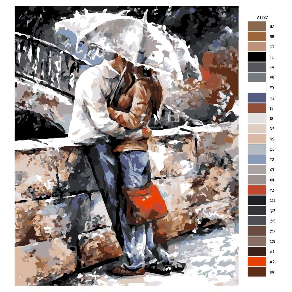 Návod pro malování podle čísel Na mostě pod deštníkem