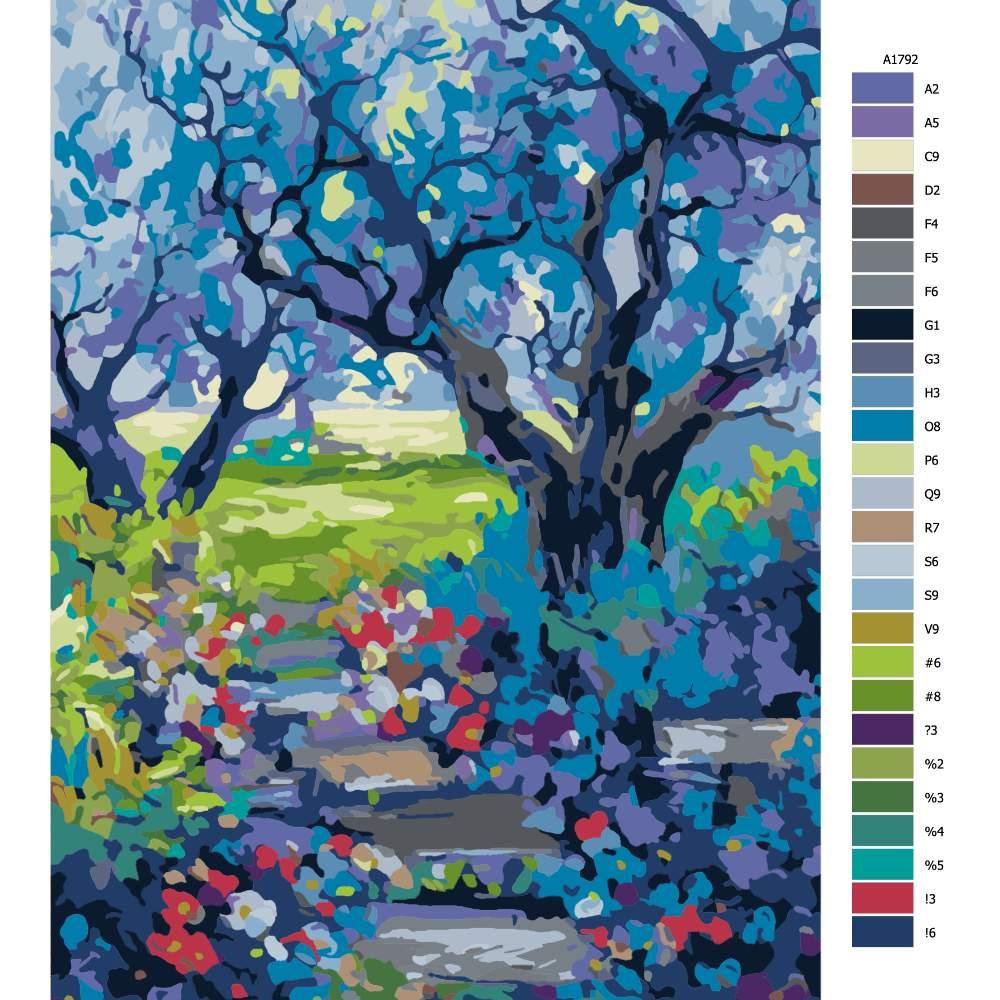 Návod pro malování podle čísel Schody v zahradě