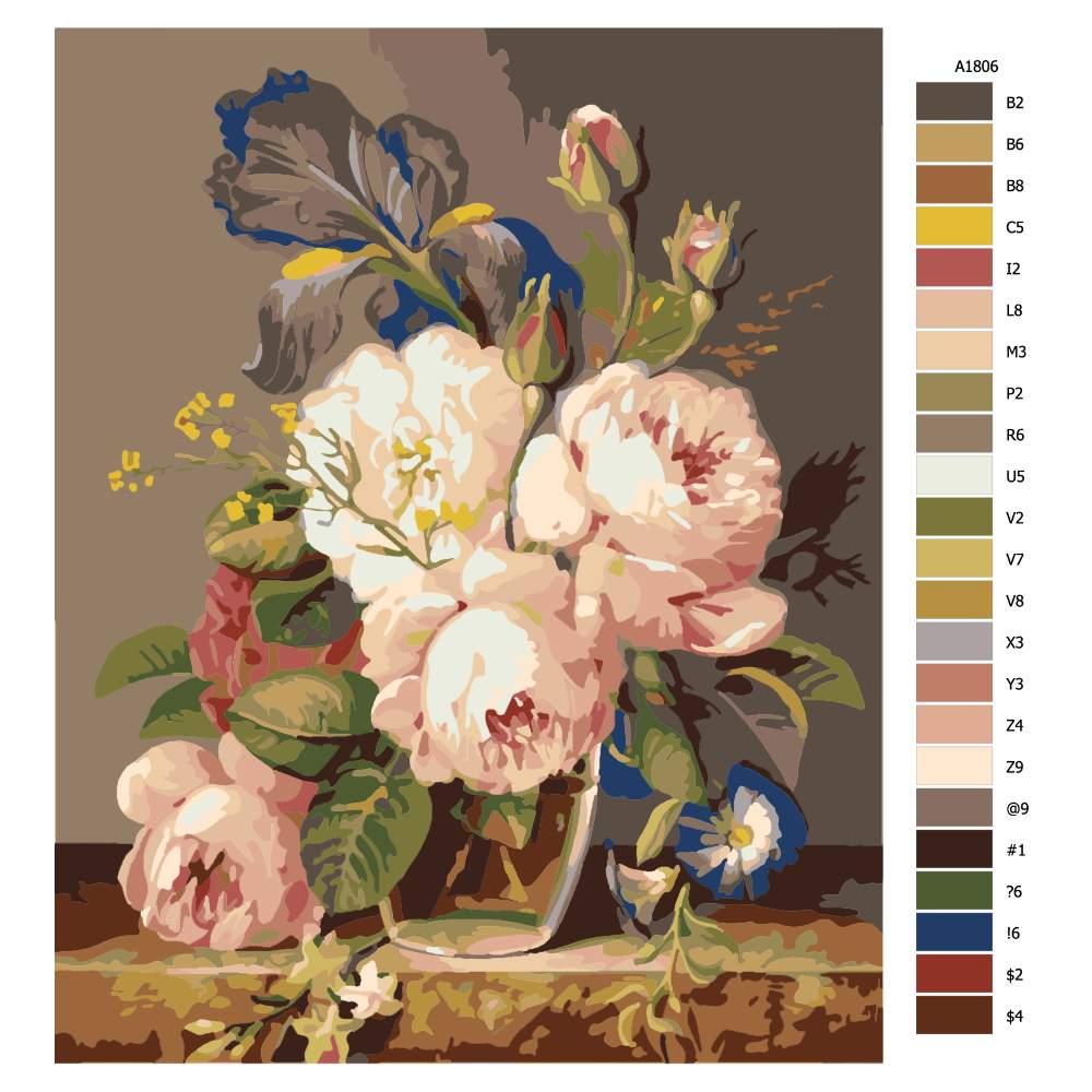 Návod pro malování podle čísel Váza plná krásných květin