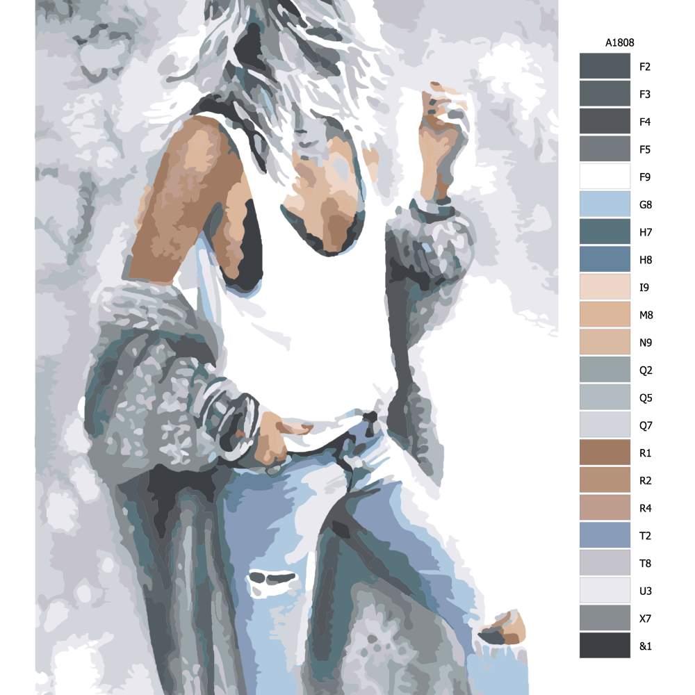 Návod pro malování podle čísel Modelka