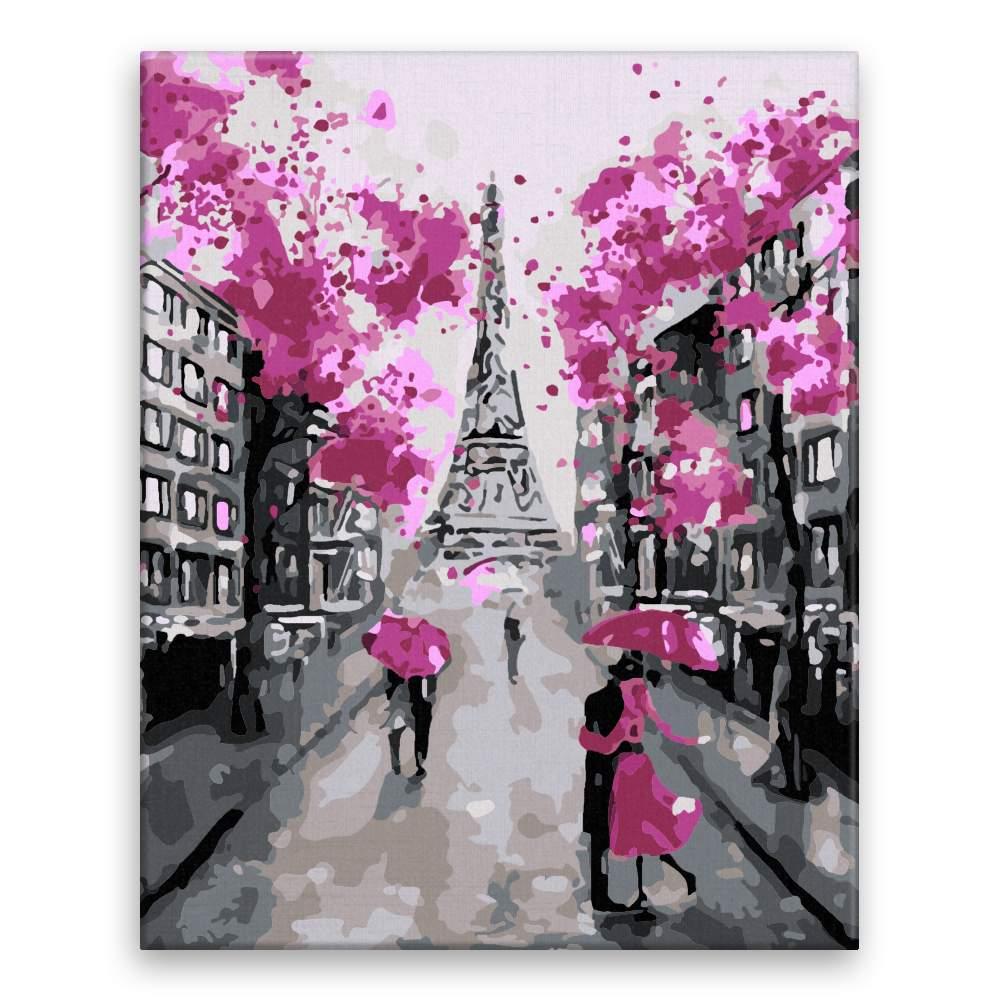 Malování podle čísel Růžová v Paříži