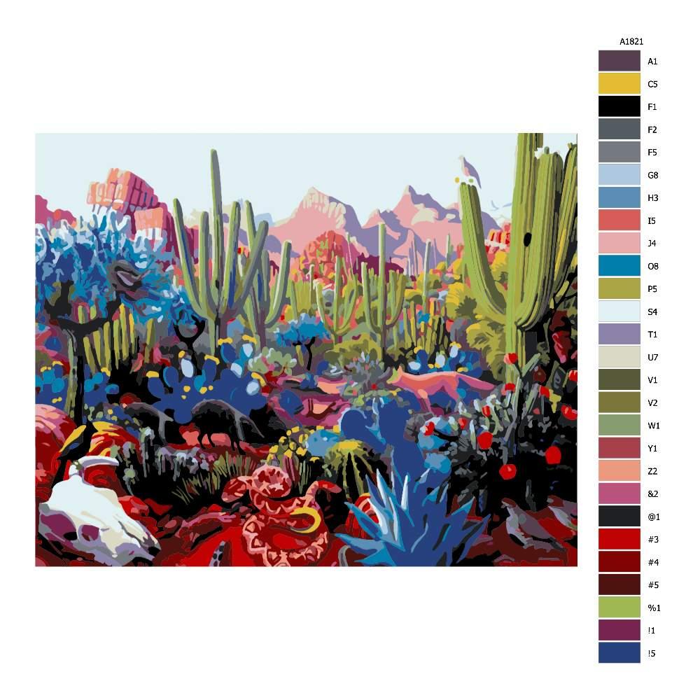Návod pro malování podle čísel Kaktusová plantáž