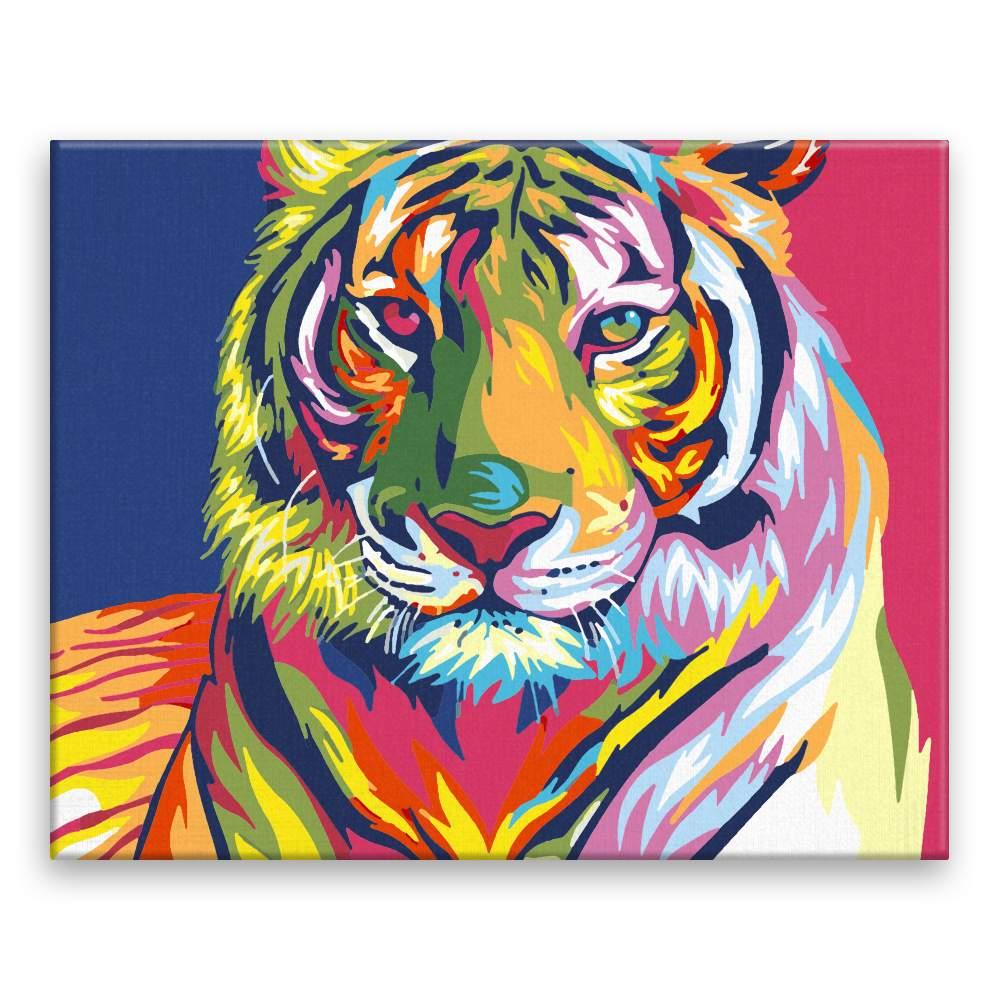 Malování podle čísel Pohled tygra v barvách