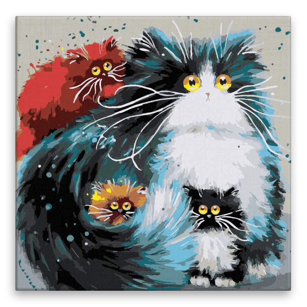 Malování podle čísel Kočka s koťaty