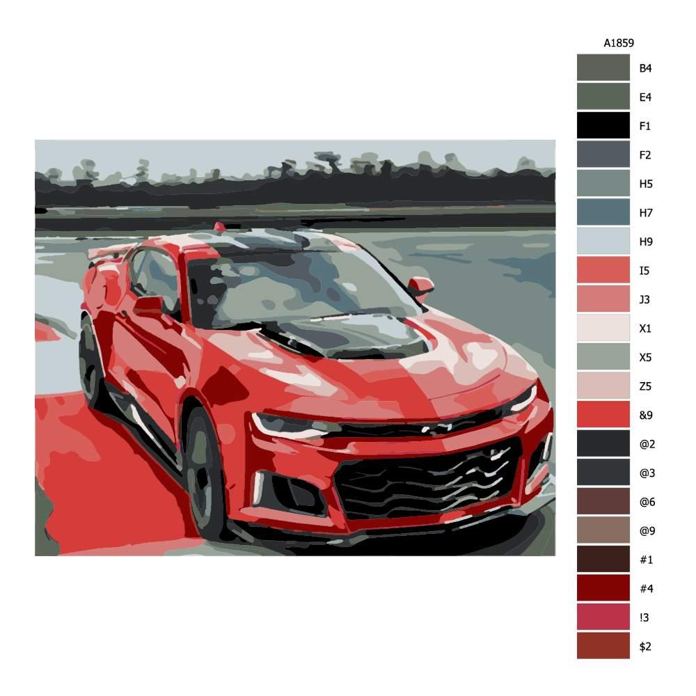 Návod pro malování podle čísel Červený Chevrolet
