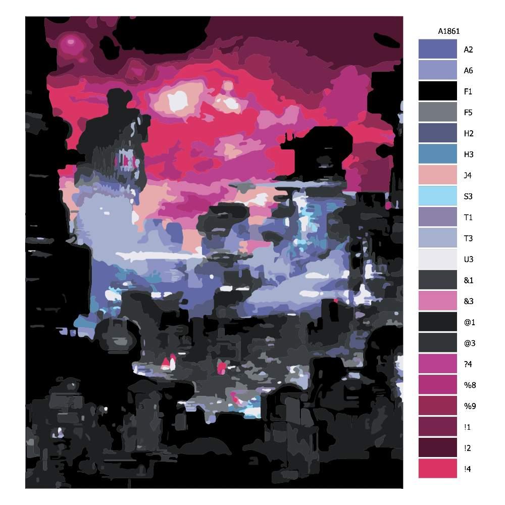 Návod pro malování podle čísel Červená obloha budoucnost