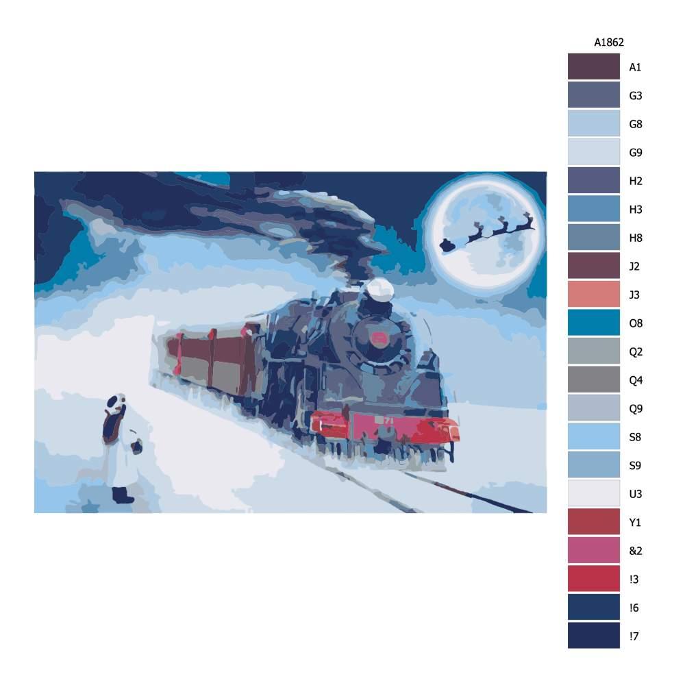 Návod pro malování podle čísel Vánoční expres