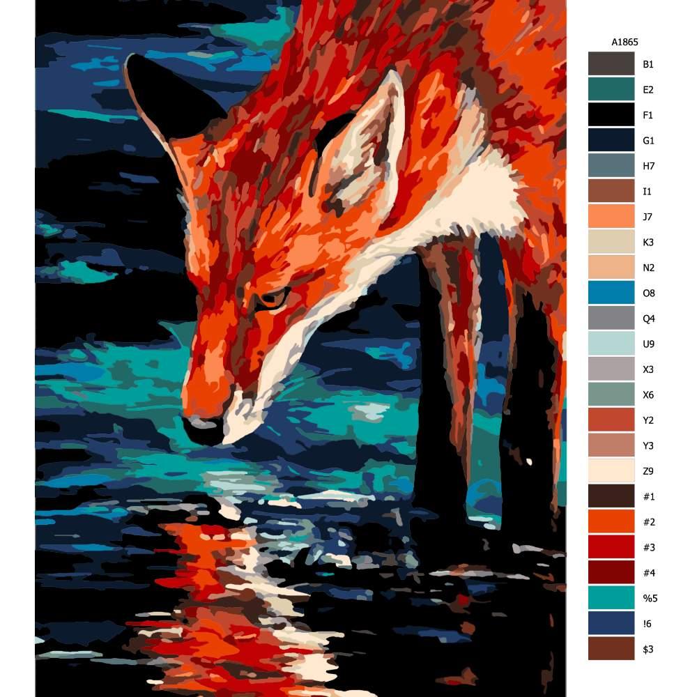 Návod pro malování podle čísel Žíznivá liška
