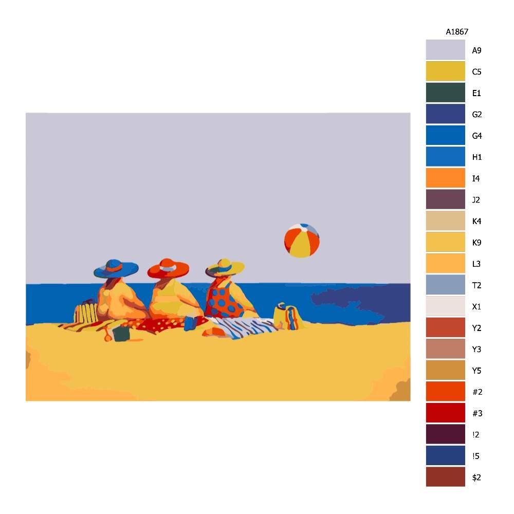 Návod pro malování podle čísel Ve třech na pláži
