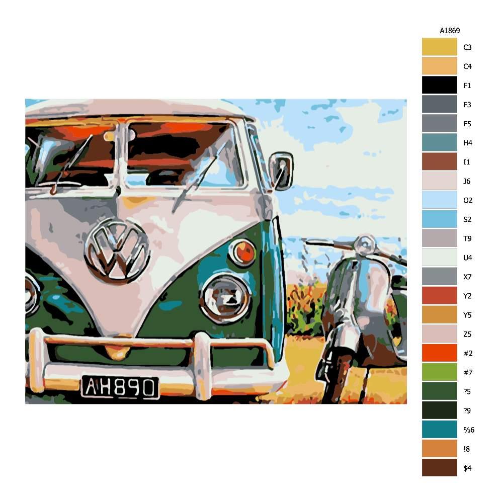 Návod pro malování podle čísel Retro VW