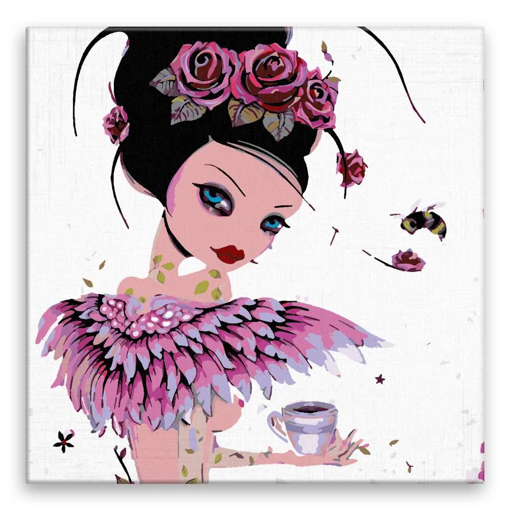Malování podle čísel Růžovka s kávou