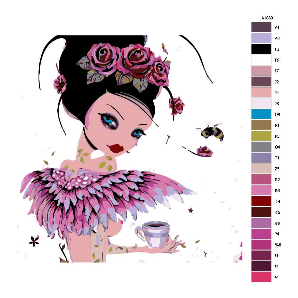 Návod pro malování podle čísel Růžovka s kávou