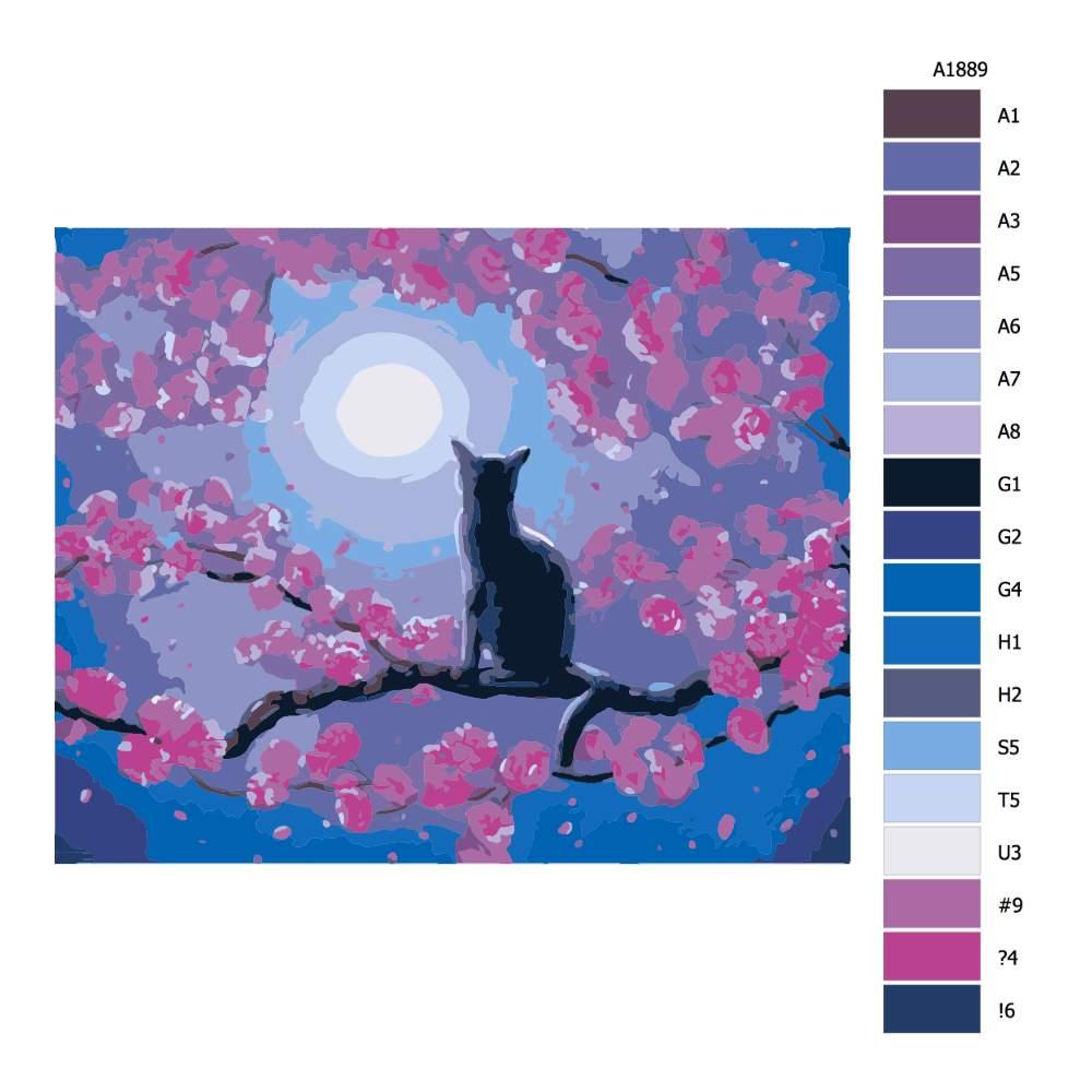 Malování podle čísel Černý kocour při úplňku