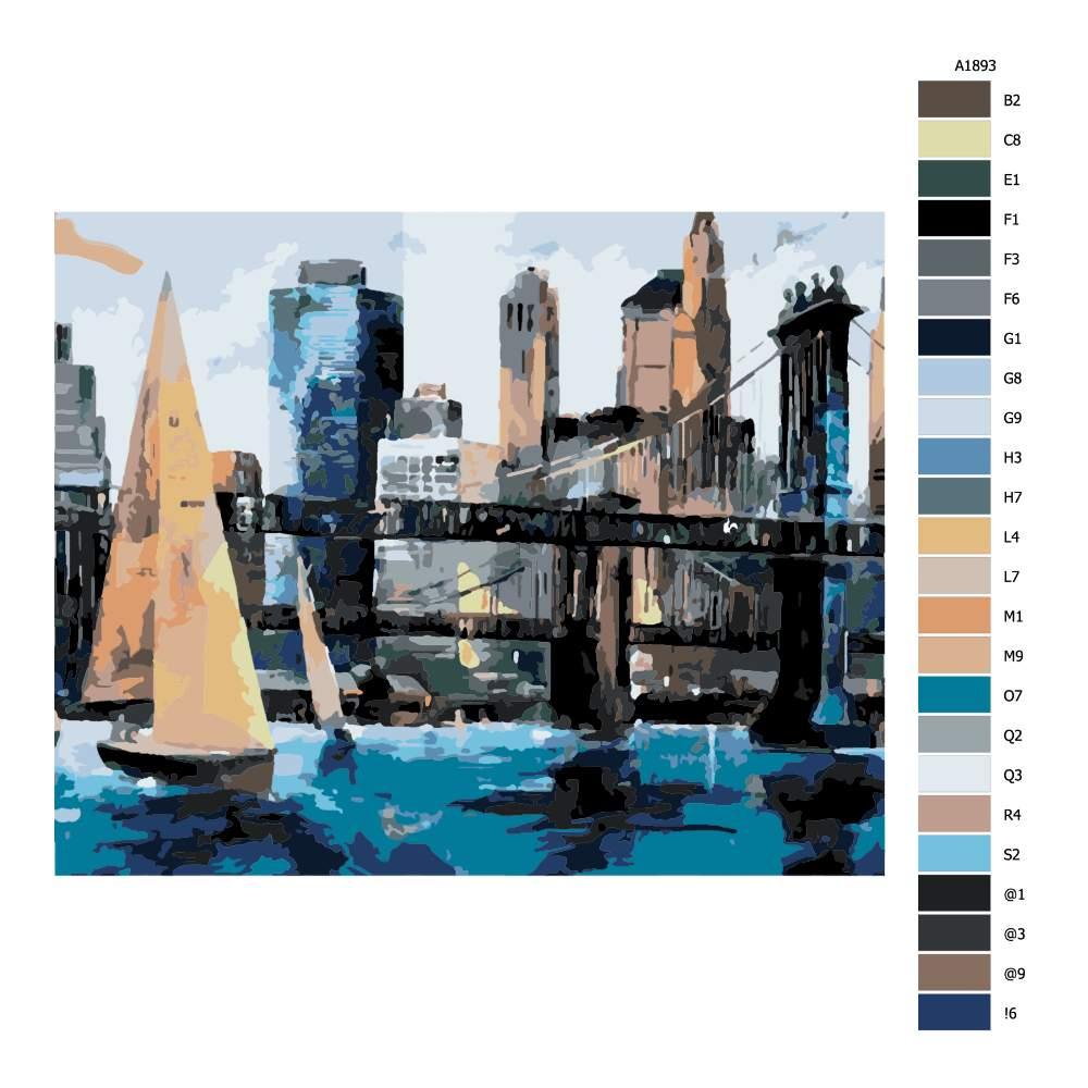 Návod pro malování podle čísel Plavba v Manhattanu