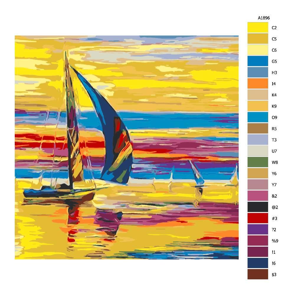 Návod pro malování podle čísel Plachetnice a zářivá obloha