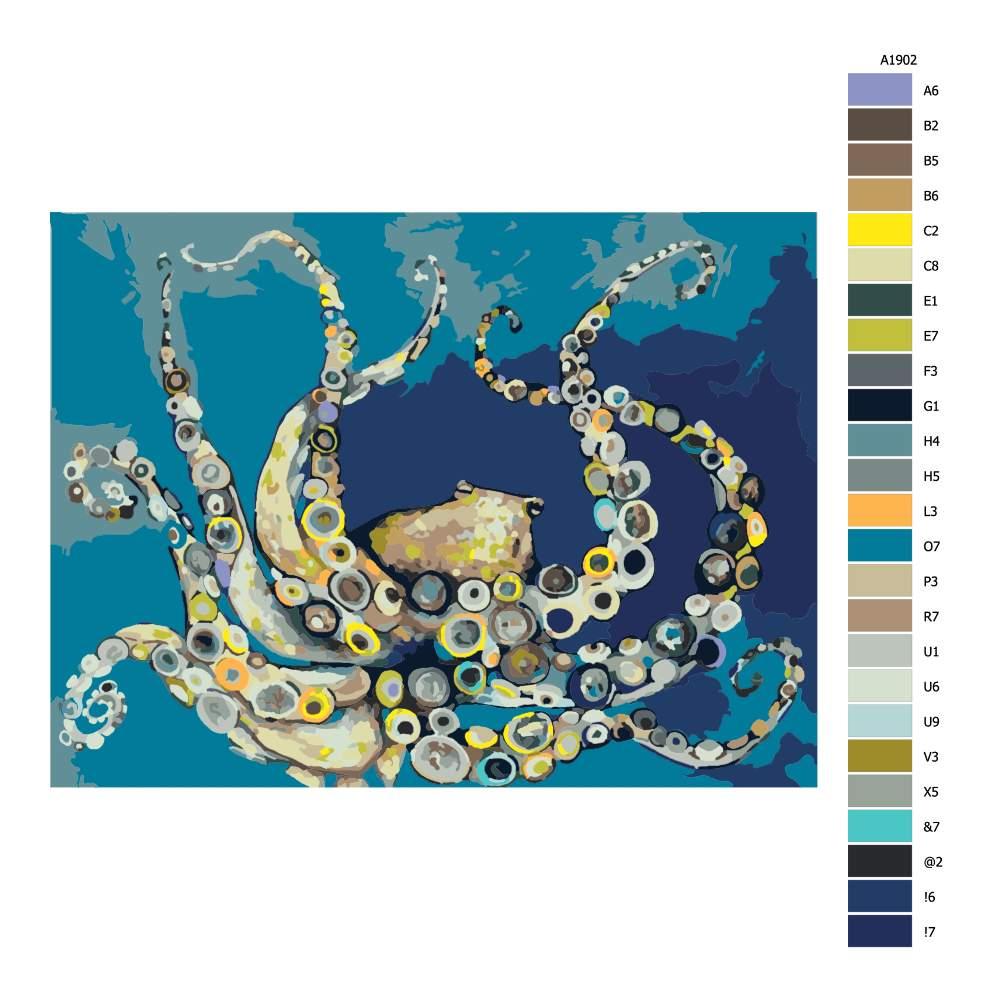 Návod pro malování podle čísel Barevná chobotnice