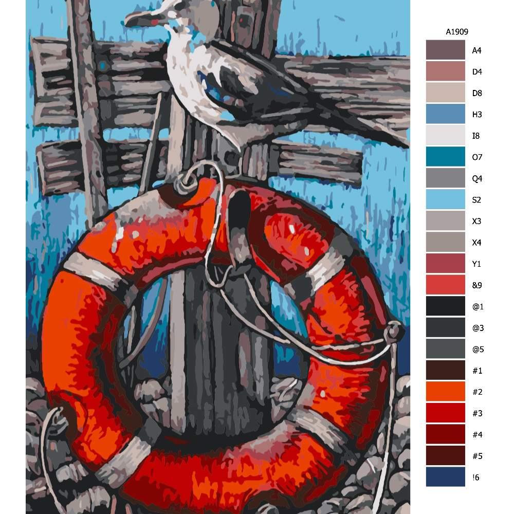 Návod pro malování podle čísel Racek na záchraném kole