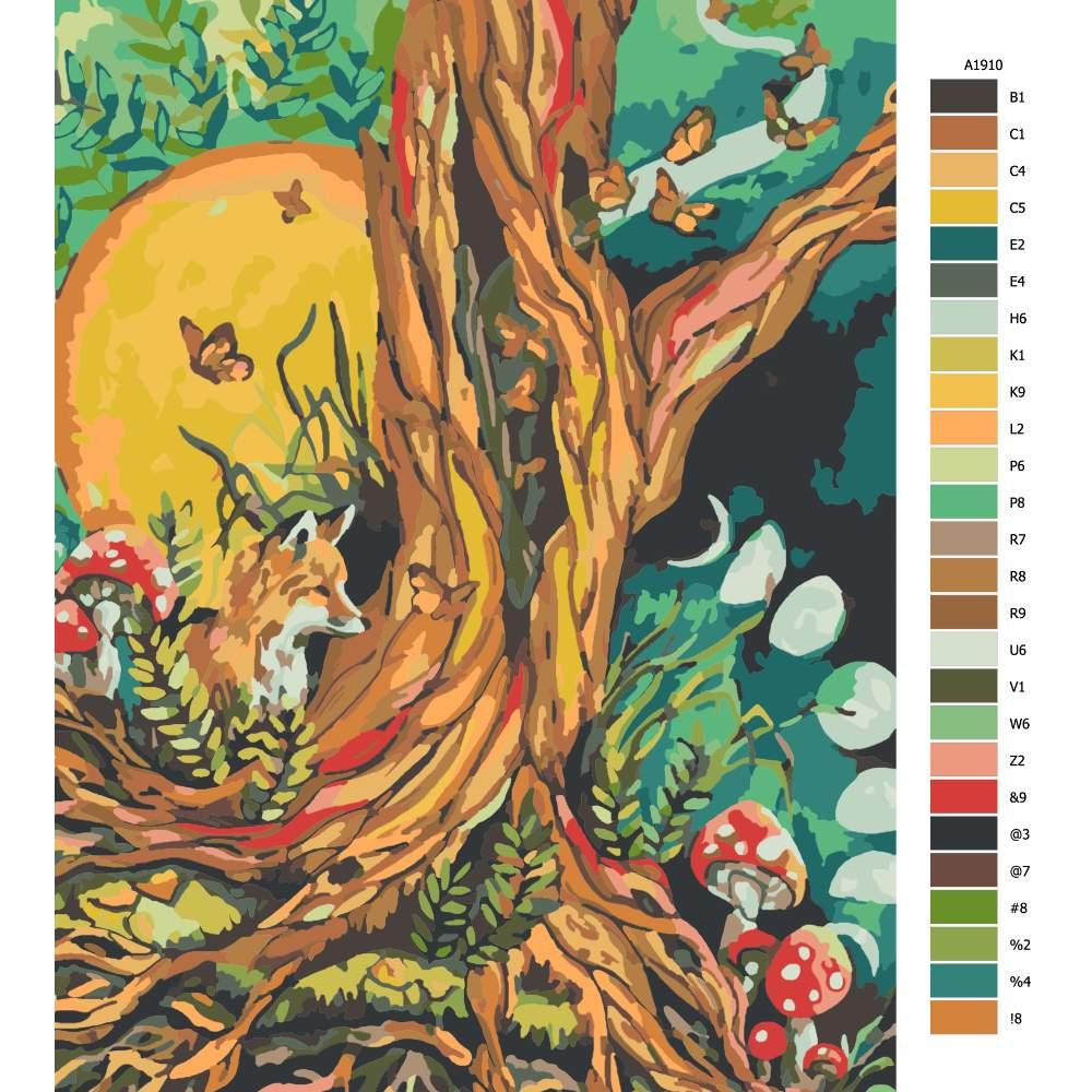 Návod pro malování podle čísel Pohádkový les