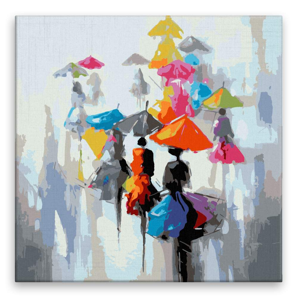Malování podle čísel Sedmibarevné deštníky