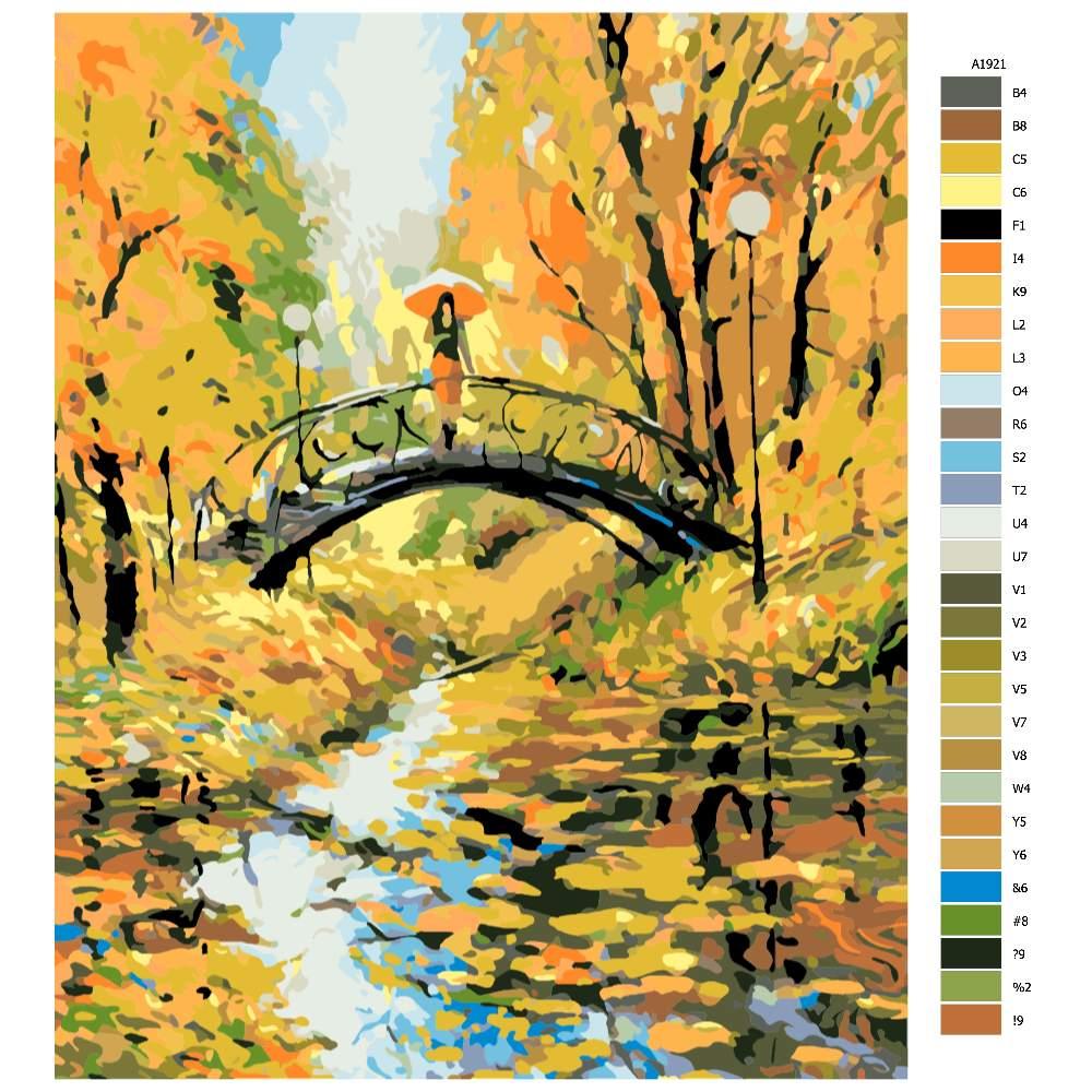 Návod pro malování podle čísel Podzimní procházka v parku