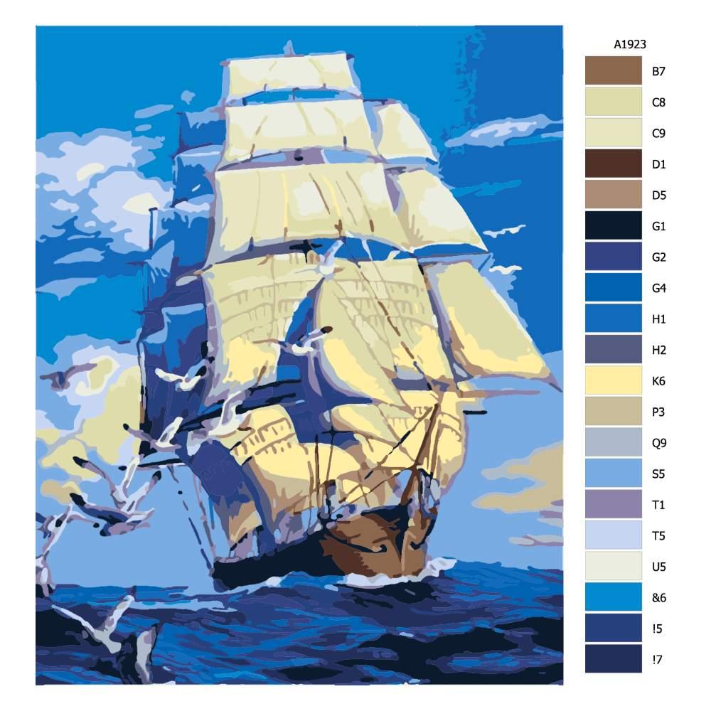 Návod pro malování podle čísel S větrem o závod