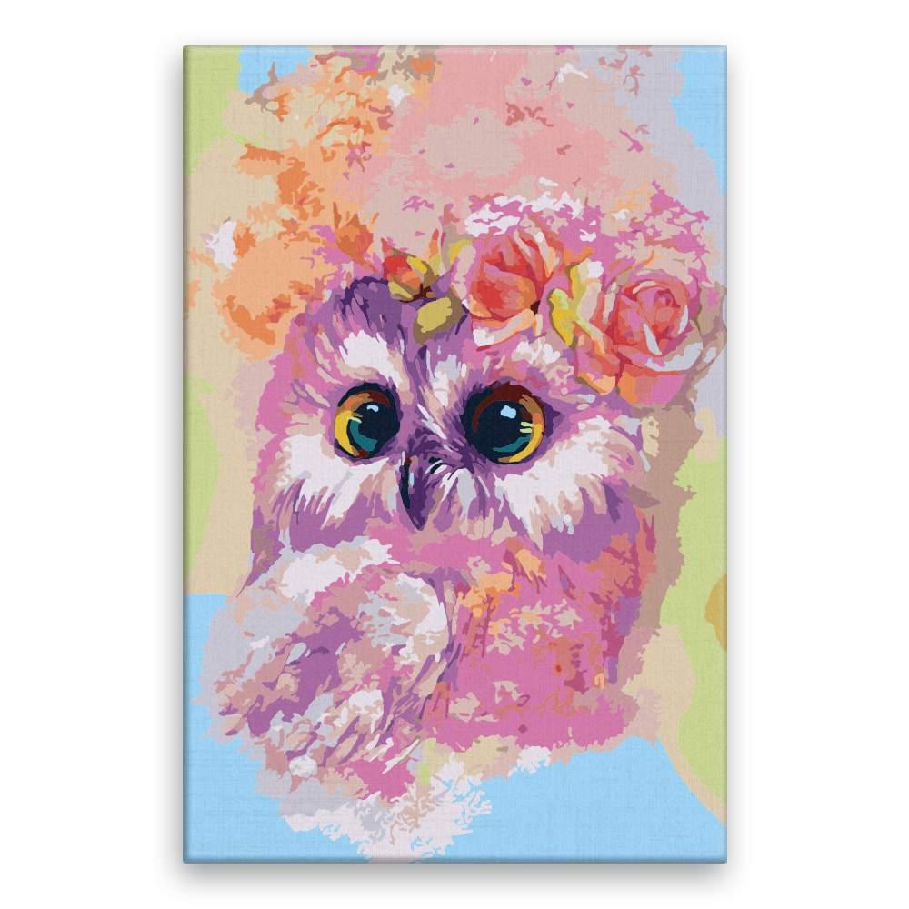 Malování podle čísel Malá sovička s růží