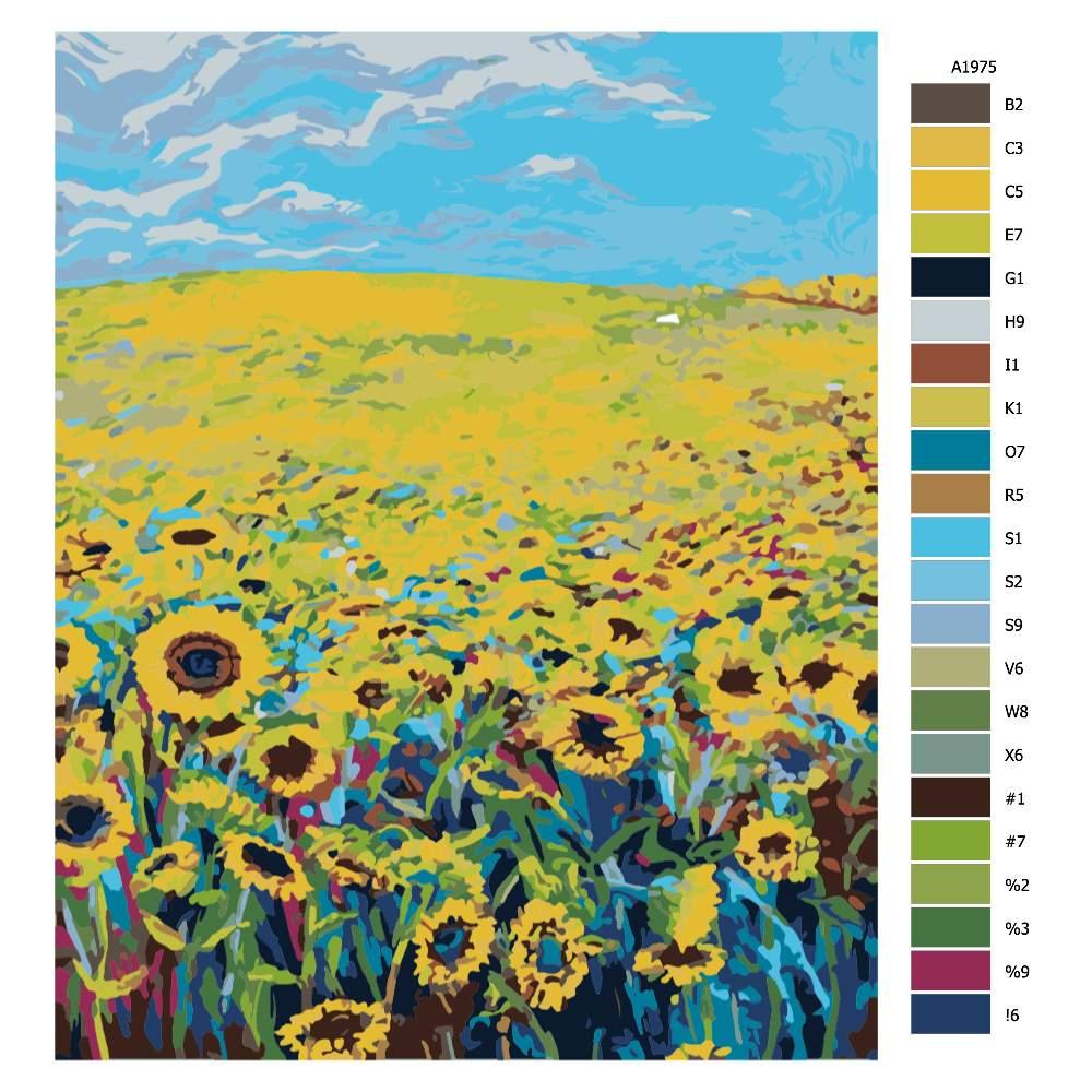 Návod pro malování podle čísel Záplava slunečnic