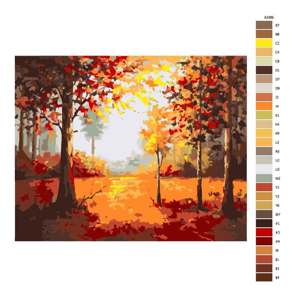 Návod pro malování podle čísel V dubovém lese