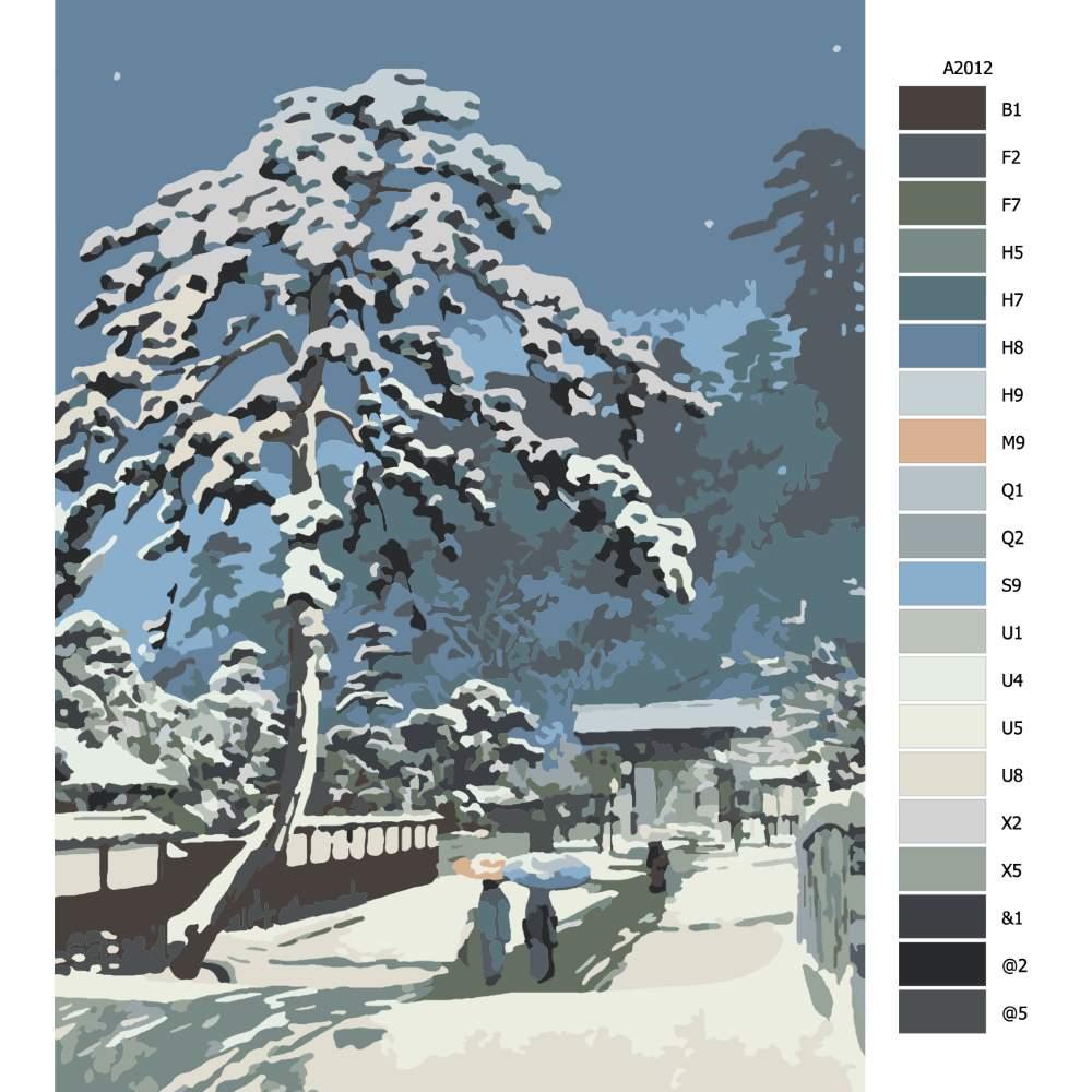 Návod pro malování podle čísel Cedr pod sněhem
