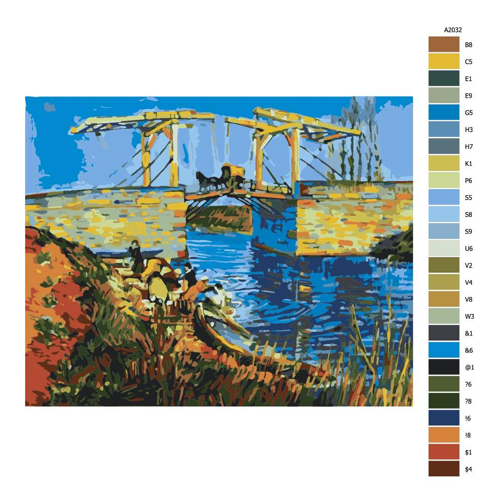 Návod pro malování podle čísel Langloiský most Van Gogh