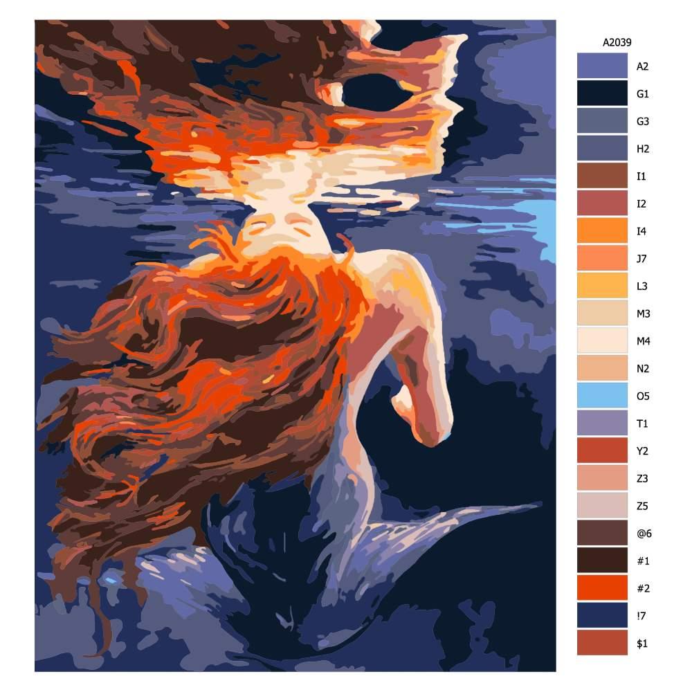 Návod pro malování podle čísel Mořská pana v zrcadlení
