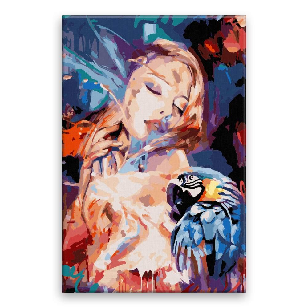 Malování podle čísel S papouškem s propojení