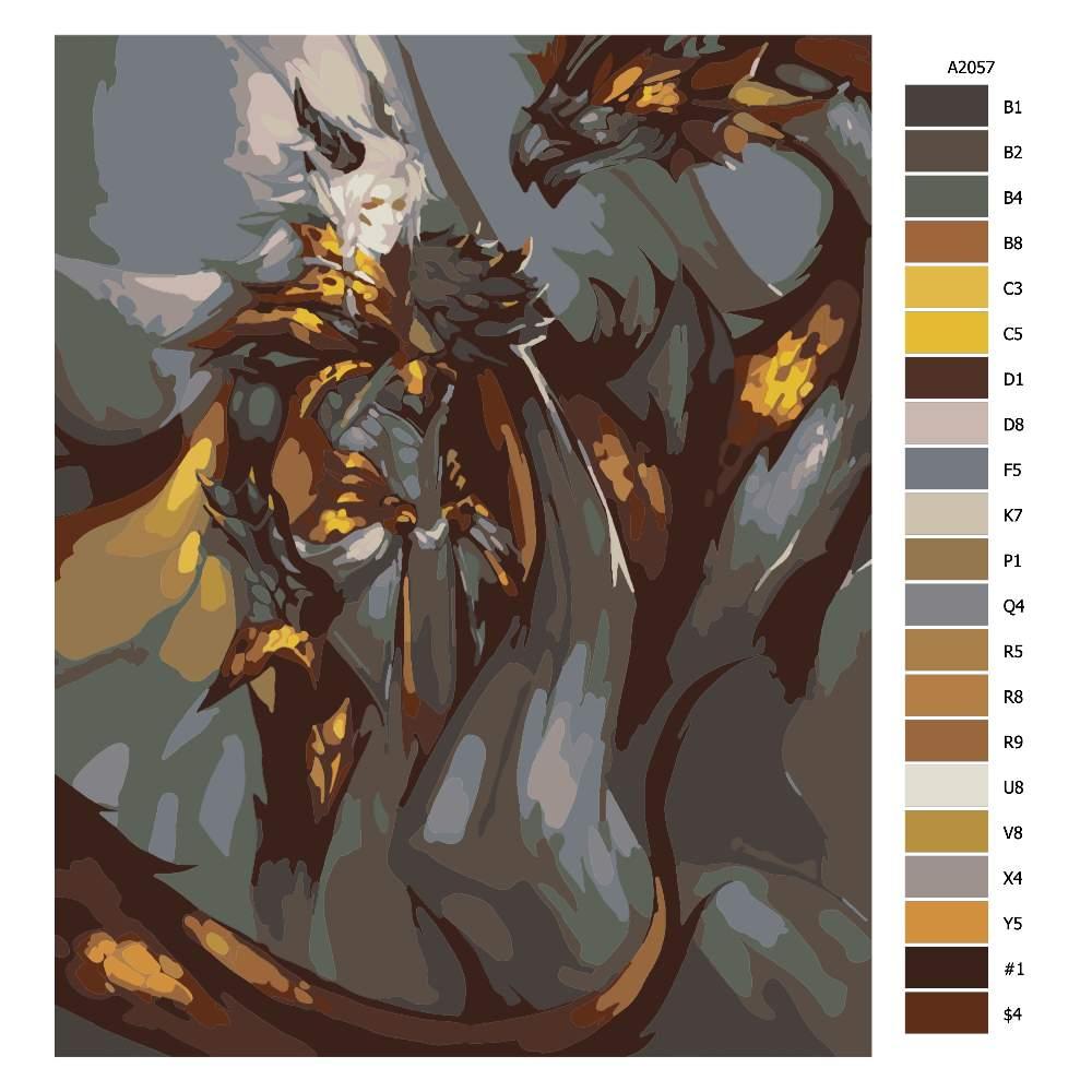 Návod pro malování podle čísel Bojovnice a drak