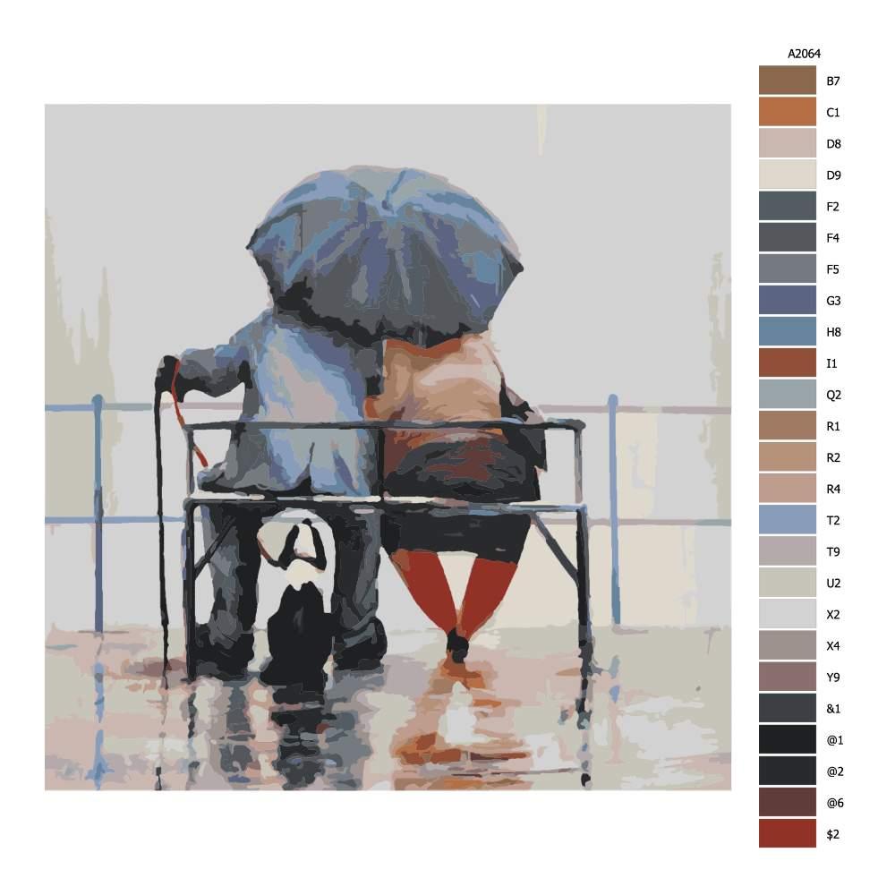 Malování podle čísel Tři pod deštníkem
