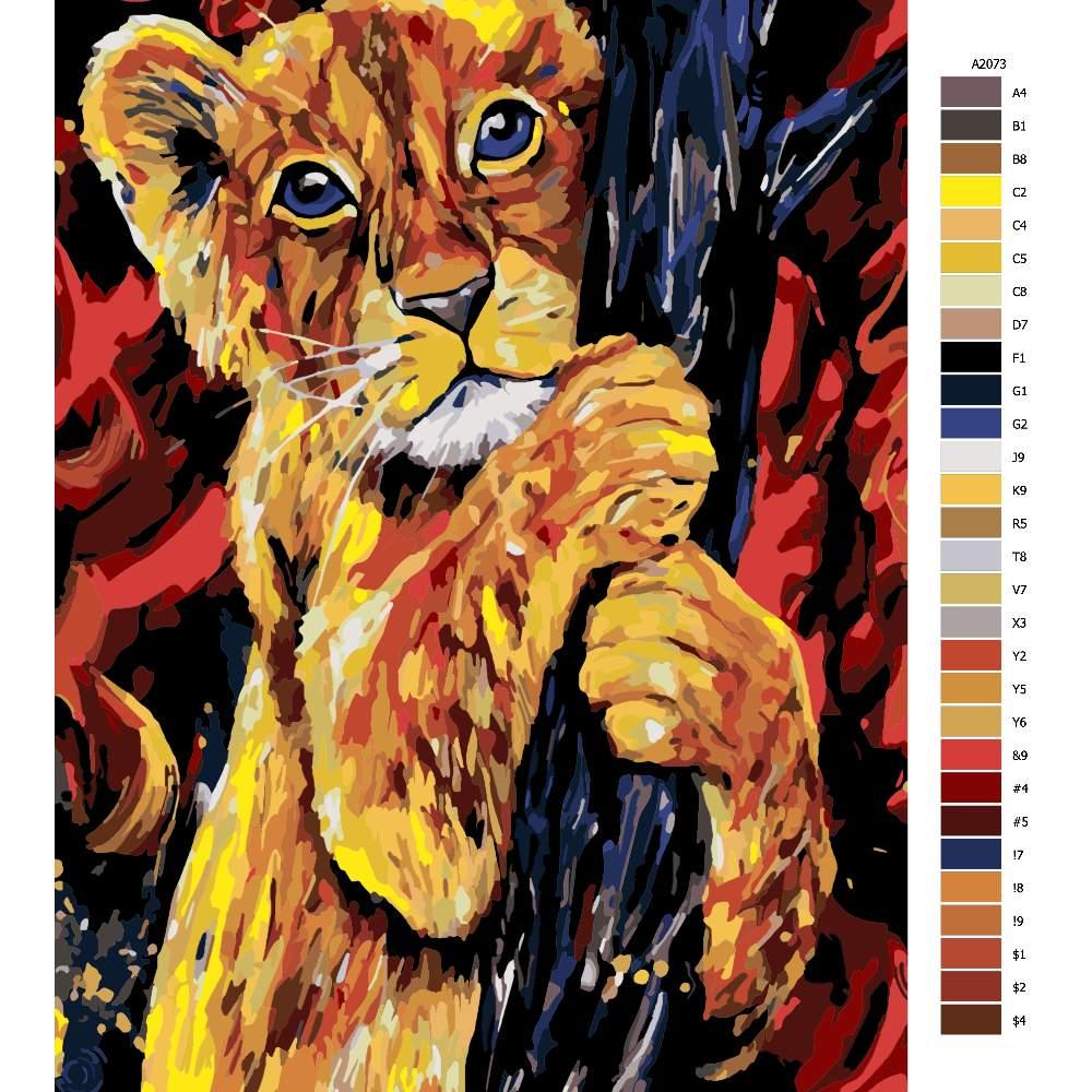 Návod pro malování podle čísel Lví mládě