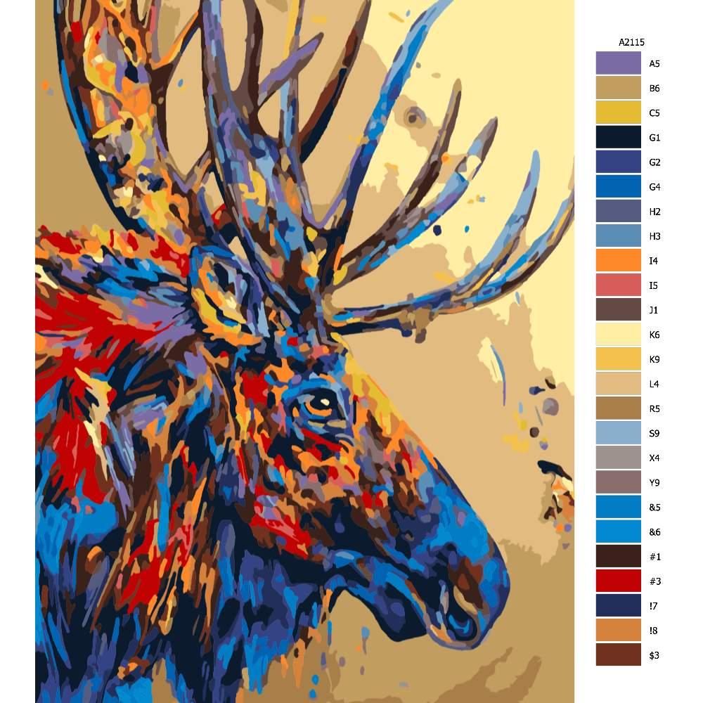 Návod pro malování podle čísel Sob v barvě
