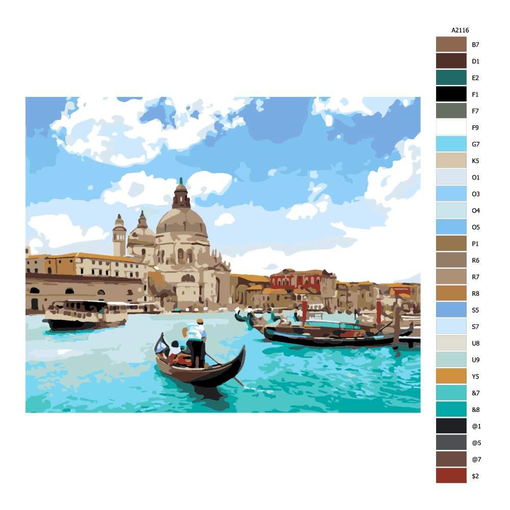 Návod pro malování podle čísel Benátský pozdrav